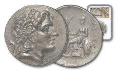 Ancient Circa 260 B.C. Lysimachus Silver Tetradrachm of Aenus NGC AU