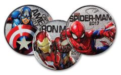 2017 Fiji 50 Cent Silver Plated Clad Marvel Light Up Specimen 3-Piece Set - Marvel Series