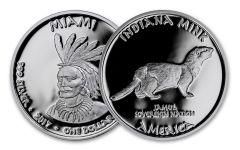 2017 Indiana 1 Dollar 1-oz Silver Miami Mink Proof