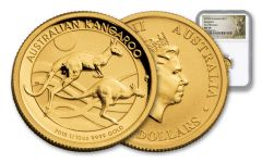 2018 Australia 15 Dollar 1/10-oz Gold Kangaroo NGC MS69 First Releases