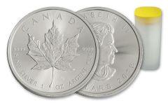 2018 Canada 1-oz Silver Maple Leaf Brilliant Uncirculated- Roll of 25