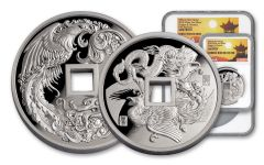 2018 China Silver Phoenix & Dragon NGC Gem Proof First Releases 2pc Set