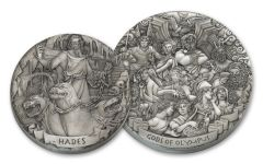 2017 Cook Islands Silver Hades & Mount Olympus Antiqued Set 2pc