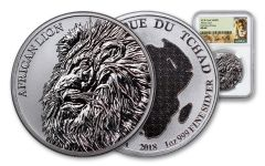 2018 Chad 5000 Franc 1-oz Silver African Lion NGC MS69 First Day Of Issue