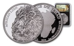 2018 5000 Franc 1-oz Silver African Lion NGC PF69UCAM First Releases Lion Label - Black