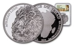 2018 Chad 5000 Franc 1-oz Silver African Lion NGC PF70UCAM First Releases Lion Label