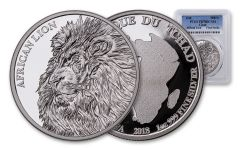 2018 5000 Franc 1-oz Silver African Lion PCGS PR70DCAM First Strike