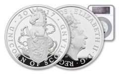 2017 Great Britain £10 10-oz Silver Queen's Beasts Unicorn of Scotland NGC PF69UC
