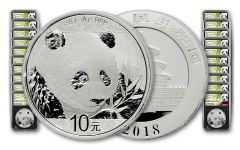 2018 China 30 Gram Silver Panda NGC MS70 First Day Of Issue Chao Signed 50-pk - Black
