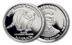 2017 New York 1 Dollar 1-oz Silver Mohawk Raccoon Proof