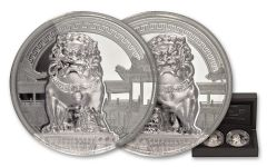 2017 Palau 10 Dollar 2-oz Silver Chinese Guardian Lion High Relief Proof 2pc Set