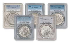 1878-1921 Morgan Silver Dollar PCGS/NGC MS64 5pc Set