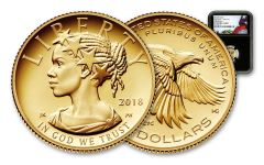 2018-W 10 Dollar 1/10-oz Gold Liberty High Relief NGC PF70UCAM First Releases Flag Label - Black