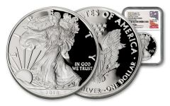 """2018-W 1 Dollar 1 Ounce Silver Eagle """"Congratulations"""" NGC PF70UC First Day Of Issue - Mercanti Signed Label"""