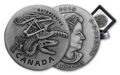 2018 Canada 1 Ounce $20 Silver Gorgosaurus Antiqued Gem BU