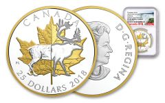 2018 Canada 1 Ounce $25 Silver Timeless Icons Caribou Piedfort Gilded Proof NGC PF69UC Early Release