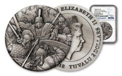 2018 Tuvalu 1-oz Silver Warfare Roman Legion High Relief NGC MS70