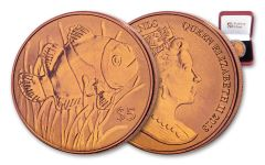 2018 British Virgin Islands 5 Dollar Orange Titanium Clownfish BU