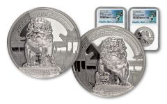 2017 Palau $10 2-oz Silver Chinese Guardian Lion High Relief NGC PF70 - 2 Piece Set