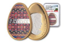 2018 Canada 1 Ounce $20 Silver Spring Pysanka Egg Colorized Proof NGC PF70UC
