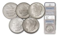 1878-1882-S Morgan Silver Dollar NGC/PCGS MS64 5pc