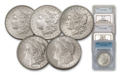 1878-1882-S Morgan Silver Dollar NGC/PCGS MS65 5pc