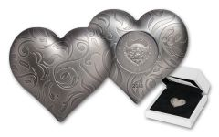 2018 Palau 5 Dollar 1-oz Silver Heart-Shaped Antiqued Coin