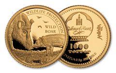 2018 Mongolia 1/2 Gram Gold Wild Boar Proof