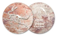 2018 Mongolia Velociraptor Colorized 3-oz Silver Proof-Like Coin