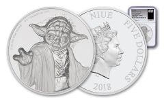 2018 Niue 5 Dollar 2-oz Silver Star Wars Yoda Ultra-High Relief NGC PF69UCAM First Releases