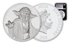 2018 Niue 5 Dollar 2-oz Silver Star Wars Yoda Ultra-High Relief NGC PF70 First Releases - Black