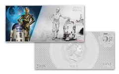 2018 Niue 1 dollar 5 Gram Silver Foil Star Wars R2-D2 and C-3PO Colorized Proof-Like Note