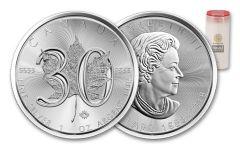 2018 Canada 5 Dollar 1-oz Silver Maple Leaf 30th Anniversary Design BU Vault Reserve Roll of 25