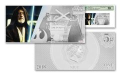 2018 Niue 1 Dollar 5 Gram Silver Foil Star Wars Obi-Wan Kenobi PMG 70 Colorized Proof-Like Note
