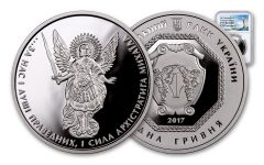 2017 Ukraine 1-oz Silver Archangel Michael NGC PF70UCAM Exclusive Ukraine Label