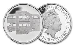 2018 Great Britain 10 Pence 6.5 Gram Silver Great British Hunt D - Double Decker Bus Proof
