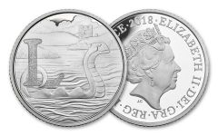 2018 Great Britain 10 Pence 6.5 Gram Silver Great British Hunt L - Loch Ness Monster Proof
