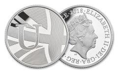2018 Great Britain 10 Pence 6.5 Gram Silver Great British Hunt U - Union Flag Proof