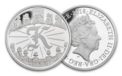 2018 Great Britain 10 Pence 6.5 Gram Silver Great British Hunt K - King Arthur Proof