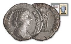 A.D. 147–175/76 Ancient Roman Empire Silver Denarius of Faustina Jr. Golden Age Hoard NGC CH XF