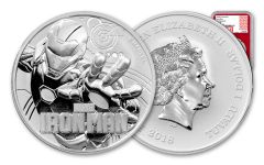 2018 Tuvalu 1 Dollar 1-oz Silver Iron Man NGC MS70 First Releases - Red