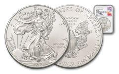 2017-P 1 Ounce $1 Silver Eagle NGC MS69 FDI Mercanti Signed