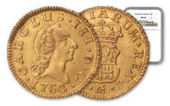 1764/3 Spain Gold Half Escudo Madrid NGC MS63