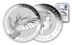 2018 Australia 1 Dollar 1-oz Silver Bird of Paradise NGC MS69 First Releases - White