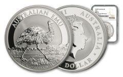 2018 Australia 1 Dollar 1-oz Silver Emu NGC MS70 First Struck