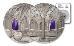 2017 Palau 2 Ounce $10 Silver Wells Cathedral Tiffany Decorated Antiqued Coin NGC MS70 ER