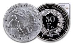 2015 Switzerland 50 Franc 25 Gram Shooting Festival Thaler – Wallis Silver Proof NGC PF70UC