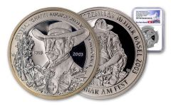 2003 Switzerland 50 Franc 25 Gram Shooting Festival Thaler – Basel Silver Proof NGC PF70UC Swiss Label