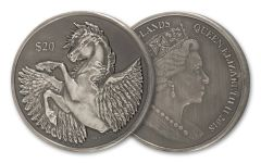 2018 British Virgin Islands 2-oz Silver Pegasus Antiqued BU
