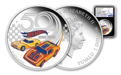 2018 Tuvalu 1 Dollar 1-oz Silver Hot Wheels 50th Anniversary NGC PF70UCAM Early Releases - Black